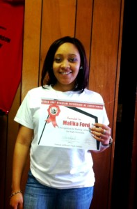 Malika Ford was recognized for showing the most academic improvement over the 11-12 school year